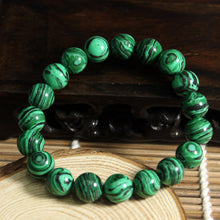 Load image into Gallery viewer, HoliStone Green Malachite Crystal Beads Bracelet ? Anxiety Stress Relief Yoga Beads Bracelets Chakra Healing Crystal Bracelet for Women and Men