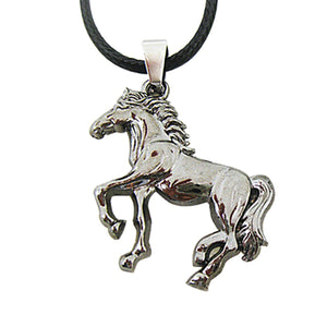 ENXICO Walking Horse Charm Pendant Necklace ? Animal Spirit Symbol Jewelry ? Best Gift for Horse Lover (Grey)