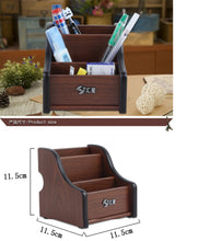 Load image into Gallery viewer, 2TRIDENTS Wooden Multifunctional Pen Holder - Card/Pen/Pencil/Mobile Phone/Stationery Holder Storage Box