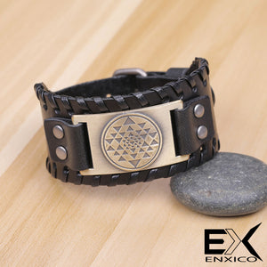 ENXICO Sri Yantra Mystical Diagram Pattern Braided Leather Bangle Bracelet ? Hindu Mandala Jewelry ? Black + Bronze