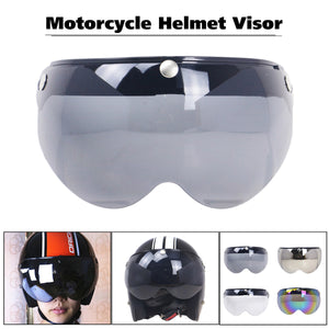 2TRIDENTS Universal Windproof 3-Snap Motorcycle Helmet With Flip Up Visor Wind Shield - Safety Helmet and Hearing Protection System (Clear)