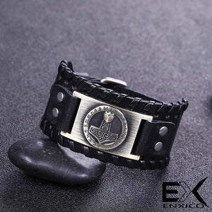 ENXICO Thor's Hammer Mjolnir Amulet Braided Leather Bangle Bracelet ? Nordic Scandinavian Viking Jewelry ? Black + Bronze