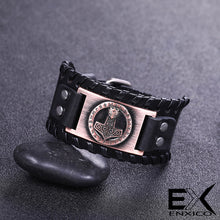 Load image into Gallery viewer, ENXICO Thor's Hammer Mjolnir Amulet Braided Leather Bangle Bracelet ? Nordic Scandinavian Viking Jewelry ? Black + Bronze