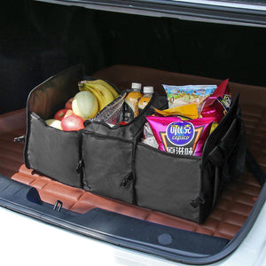 2TRIDENTS Black Large Capacity Car Trunk Organizer - Perfect for SUV, Auto, Vehicle, Family Vans, Travel and Camp