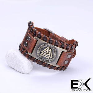 ENXICO Odin's Valknut with Runic Circle Amulet Braided Leather Bangle Bracelet ? Nordic Scandinavian Viking Jewelry ? Black + Silver