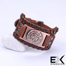 Load image into Gallery viewer, ENXICO Eye of Horus Amulet Braided Leather Bangle Bracelet ? Ancient Egyptian God Jewelry ? Black + Bronze
