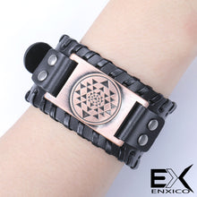 Load image into Gallery viewer, ENXICO Sri Yantra Mystical Diagram Pattern Braided Leather Bangle Bracelet ? Hindu Mandala Jewelry ? Black + Bronze