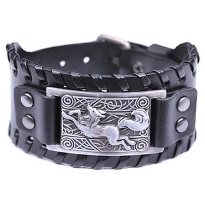 ENXICO Celtic Fox Amulet Braided Leather Bangle Bracelet ? Irish Celtic Zodiac Animal Spirit Jewelry ? Black + Silver