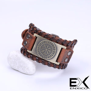 ENXICO Vegvisir Viking Runic Compass with Rune Circle Braided Leather Bangle Bracelet ? Nordic Scandinavian Viking Jewelry ? Black + Silver