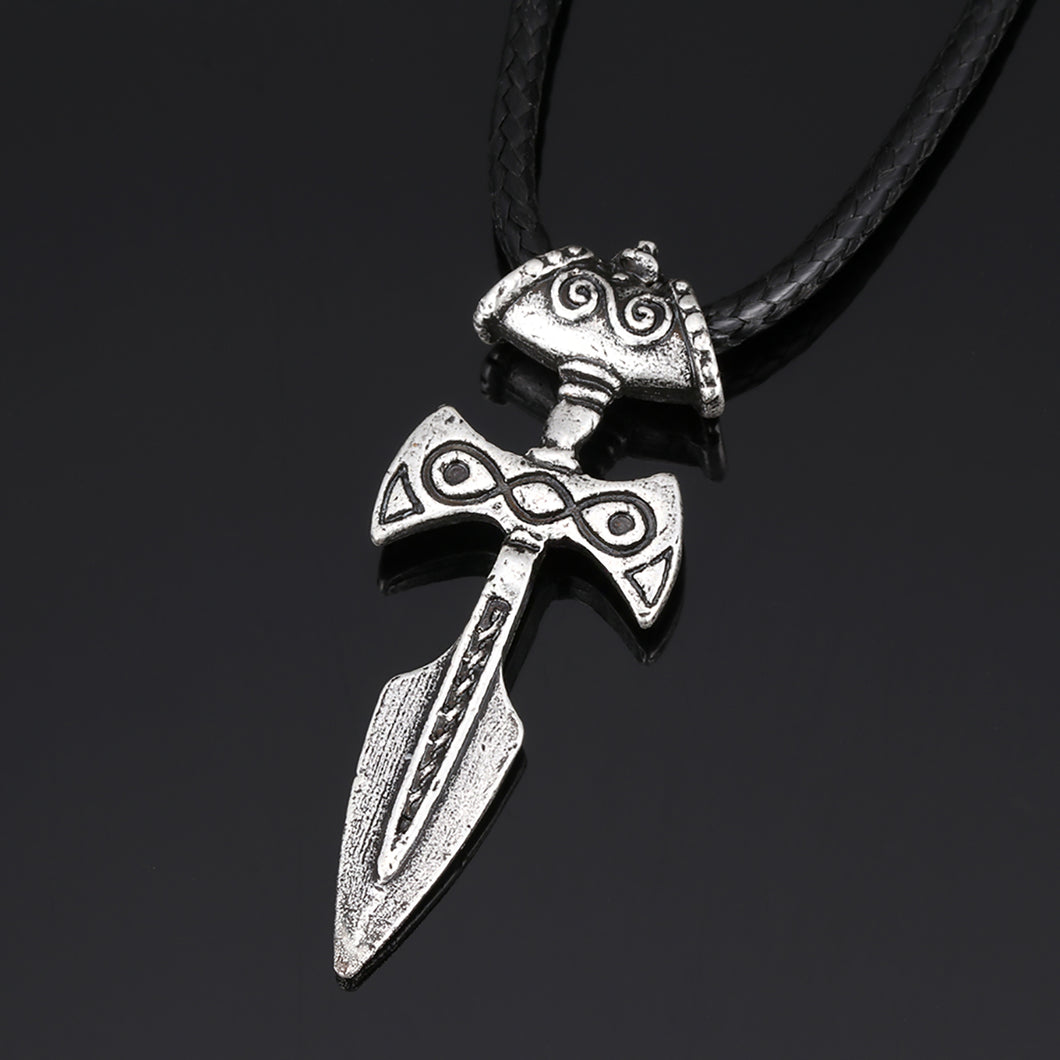 ENXICO Viking Dagger Amulet Pendant Necklace ? Silver Color ? Norse Scandinavia Viking Jewelry