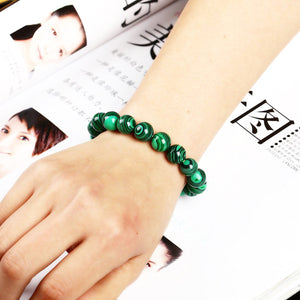 HoliStone Green Malachite Crystal Beads Bracelet ? Anxiety Stress Relief Yoga Beads Bracelets Chakra Healing Crystal Bracelet for Women and Men