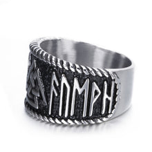 Load image into Gallery viewer, ENXICO Valknut Symbol Ring with Rune Letters ? 316L Stainless Steel ? Norse Scandinavian Viking Jewelry (10)