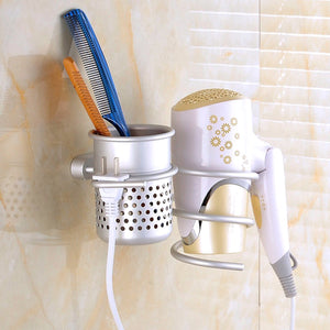 2TRIDENTS Aluminum Wall Mounted Hair Dryer Comb Hanging Rack Organizer - Great For Bathroom, Washroom And Restroom