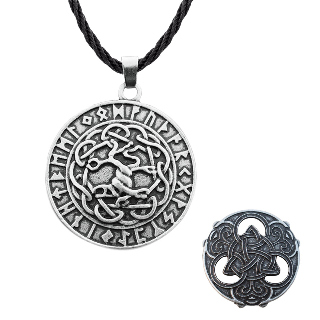 GUNGNEER Celtic Irish Knot Hair Pin Brooch Rune Tree of Life Pendant Necklace Jewelry Set