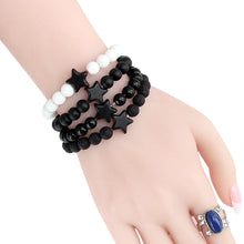 Load image into Gallery viewer, HoliStone 8mm Natural Lava Stone with Pentagram Lucky Charm Bracelet for Women and Men