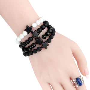 HoliStone 8mm Natural Lava Stone with Pentagram Lucky Charm Bracelet for Women and Men