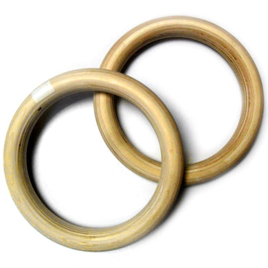 2TRIDENTS 1 Pairs Wooden Gymnastic Ring for Cross-Training Workout, Strength Training, Gymnastics, Fitness, Pull Ups and Dips - Home Fitness Training Equipment