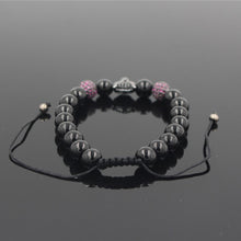 Load image into Gallery viewer, HoliStone Adjustable 8mm Black Onyx Stone Leopard Head Lucky Charm Bracelet for Women and Men