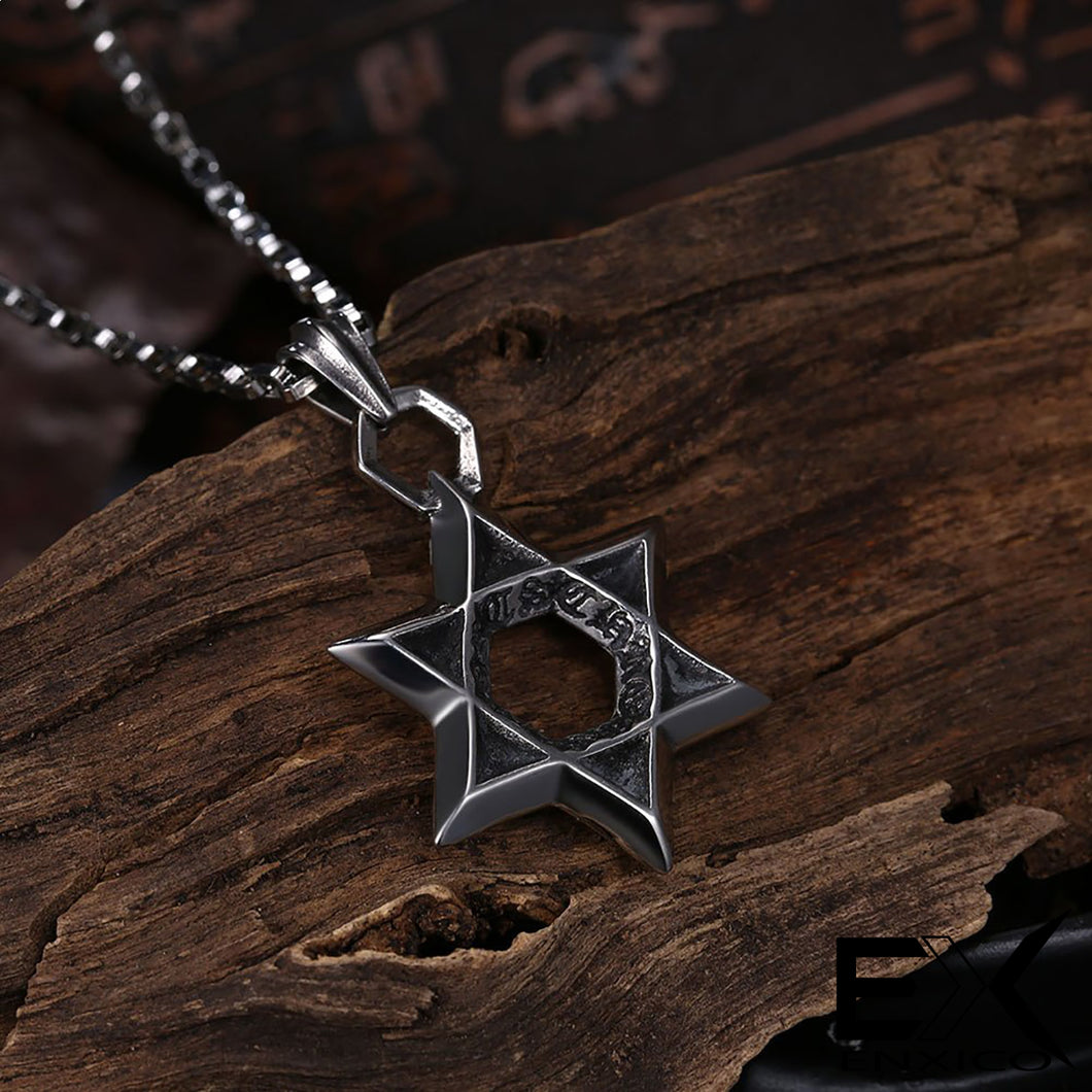 ENXICO Star of David Hexagram Amulet Pendant Necklace ? 316L Stainless Steel ? Jewish Jewelry