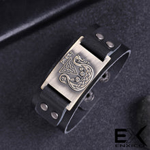 Load image into Gallery viewer, ENXICO Viking Ship Amulet Leather Bangle Bracelet ? Nordic Scandinavian Viking Jewelry ? Black + Bronze