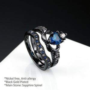 ENXICO Black and Blue Caddagh Heart Ring Set for Women ? 316L Stainless Steel ? Irish Celtic Jewelry (10)