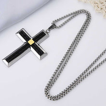 Load image into Gallery viewer, GUNGNEER Stainless Steel Knight Templar Crusader Cross Pendant Necklace with Ring Jewelry Set