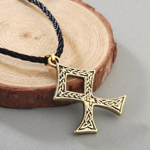 Load image into Gallery viewer, ENXICO The Elder Futhark Odal Rune Othala Pendant Necklace with Celtic Knot Pattern ? Gold Color ? Norse Scandinavia Viking Jewelry