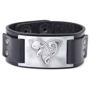 ENXICO Celtic Cat and Triquetra Knot Amulet Leather Bangle Bracelet ? Irish Celtic Zodiac Spirit Jewelry ? Black + Silver