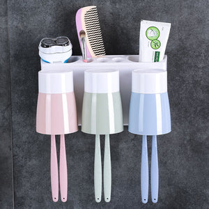 2TRIDENTS Wall-Mount Toothbrush Toothpaste Squeezer Dispenser Holder - Household Simple Bathroom Storage Box (A)