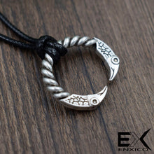 Load image into Gallery viewer, ENXICO Odin's Raven Huginn and Muninn Ring Amulet Pedant Necklace ? Silver Color ? Norse Scandinavian Viking Jewelry