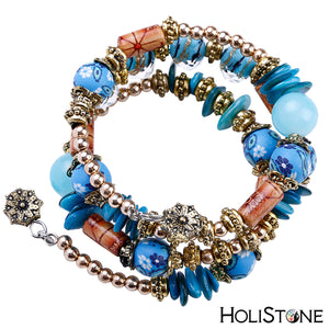 HoliStone Multil Layer Natural Rhinestone Bead Bracelet with Colored Shell Charm Bangle for Women Men