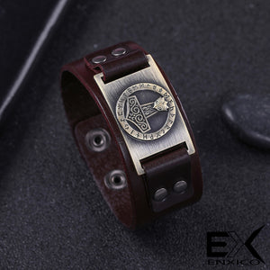 ENXICO Thor's Hammer Mjolnir Amulet Leather Bangle Bracelet ? Nordic Scandinavian Viking Jewelry ? Black + Bronze