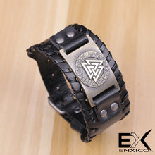 Load image into Gallery viewer, ENXICO Odin's Valknut with Runic Circle Amulet Braided Leather Bangle Bracelet ? Nordic Scandinavian Viking Jewelry ? Black + Silver