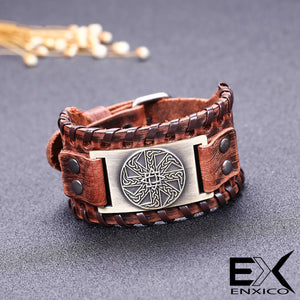 ENXICO Kolovrat Slavic Sun Wheel Amulet Braided Leather Bangle Bracelet ? Ancient Slav Jewelry ? Black + Silver