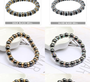 HoliStone Classic Hematite Beaded Bracelet ? Anxiety Stress Relief Yoga Meditation Energy Balancing Lucky Charm Bracelet for Women and Men