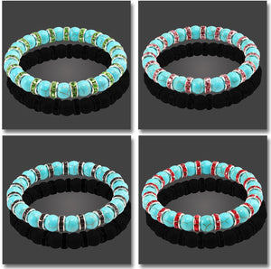 HoliStone Natural Blue Turquoises Stone Bracelet ? Anxiety Stress Relief Yoga Meditation Energy Balancing Lucky Charm Bracelet for Women and Men