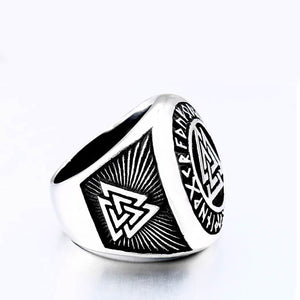 ENXICO Vegvisir The Viking Runic Compass Ring with Rune Circle and Double Valknut Symbol ? 316L Stainless Steel ? Norse Scandinavian Viking Jewelry