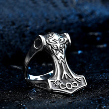 Load image into Gallery viewer, ENXICO Thor's Hammer Mjolnir Ring ? 316L Stainless Steel ? Norse Scandinavian Viking Jewelry