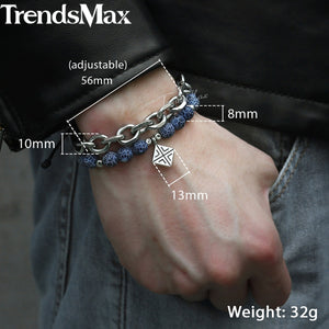 HoliStone Unique Blue Natural Stone with Stylish Stainless Steel Chain Bracelet for Men