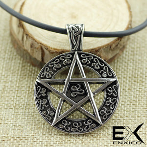 ENXICO Pentacle Star Amulet Pendant Necklace ? Silver Color ? Wicca Pagan Withcraft Jewelry