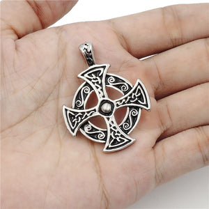 GUNGNEER Stainless Steel Triquetra Celtic Cross Ring Pendant Necklace Jewelry Set Men Women