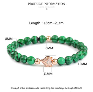 HoliStone Malachite Stone Fox Head Beaded Lucky Charm Bracelet for Women and Men ? Anxiety Stress Relief Yoga Meditation Energy Balancing Lucky Charm Bracelet
