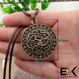 ENXICO Yggdrasil The Tree of Life Pendant Necklace with Rune Circle Surrounding ? Norse Scandinavian Viking Jewelry ? Bronze Plated