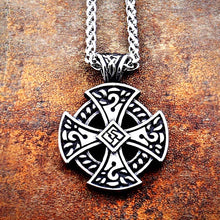 Load image into Gallery viewer, GUNGNEER Irish Celtic Knot Cross Stainless Steel Pendant Necklace Ring Amulet Jewelry Set