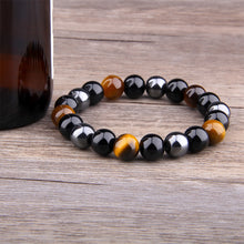 Load image into Gallery viewer, HoliStone Black Obsidian and Tiger Eye Natural Stone Beads Bracelet ? Anxiety Stress Relief Yoga Beads Bracelets Chakra Healing Crystal Bracelet for Women and Men
