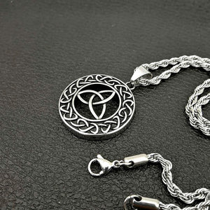 ENXICO Trinity Celtic Knot with Sailor's Knot Circle Pendant Necklace ? 316L Stainless Steel ? Irish Celtic Jewelry