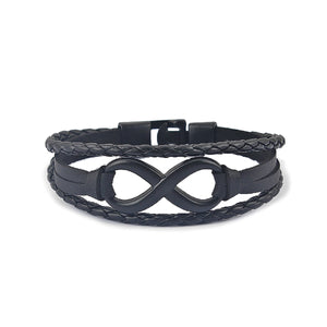 GUNGNEER Celtic Triquetra Knot Charm Choker Leather Infinity Bracelet Jewelry Set Men Women