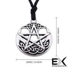 Load image into Gallery viewer, ENXICO Pentagram Pentacle Amulet Pendant Necklace with Celtic Knot Pattern ? Gold Color ? Celtic Wicca Pagan Witchcraft Jewelry