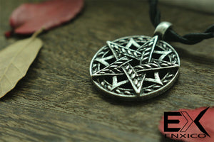 ENXICO Double Pentacle Pentagram Amulet Pendant Necklace ? Grey Color ? Wicca Pagan Witchcraft Jewelry