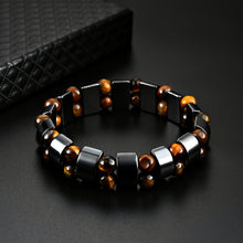 Load image into Gallery viewer, HoliStone Tiger Eye & Hematite Stone Handmade Lucky Charm Bracelet for Women and Men ? Anxiety Stress Relief Yoga Meditation Energy Balancing Lucky Charm Bracelet
